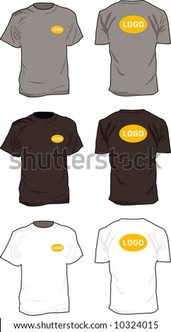 "T-shirts. 3 shirts in 2 positions. Delete, or replace the word ""logo"" with your own content."