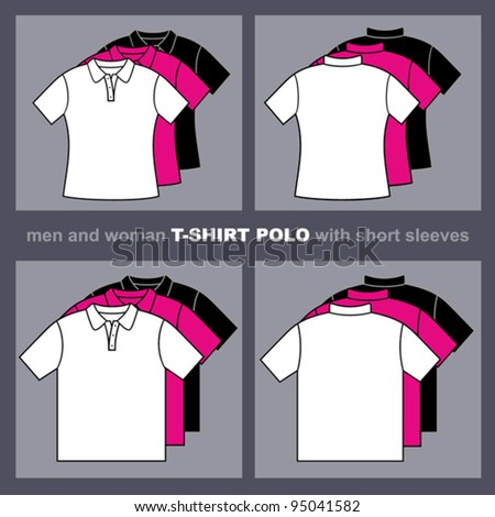T-shirts templates. Men and woman polo t-shirts. Vector illustration.