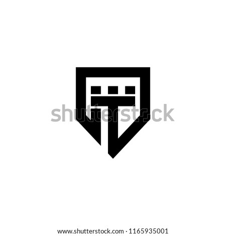 T Strong Castle Fort Fortress Protection Guard Shield Symbol