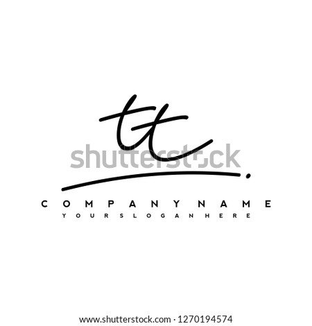 T T Initial handwriting logo vector