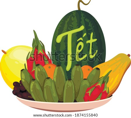 """Tết-Vietnamese New Year, Vietnamese Lunar New Year or Tet Holiday. Plate with fruits for celebrating Vietnamese Lunar New Year """"Tet"""""""