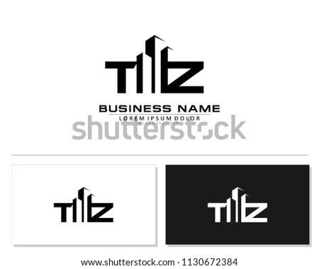 T Z Initial building logo concept Stock fotó ©