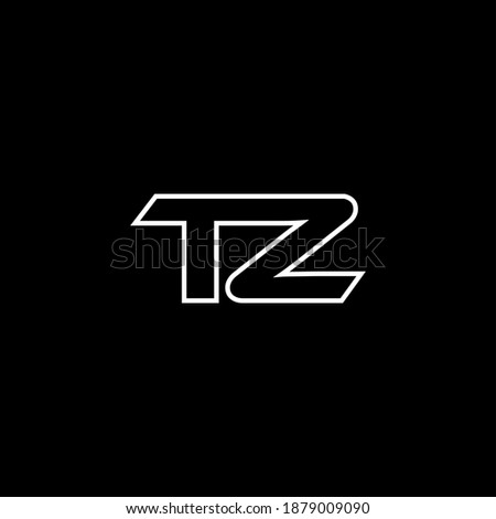 T Z letter logo abstract design on black color background. tz monogram Stock fotó ©