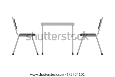 Table and chair. Restaurant furniture. Side view. Vector illustration in flat style