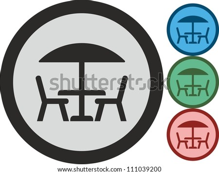 Table and chairs, vector, icon