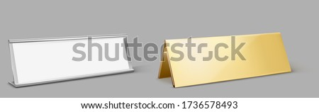 Table card holder, empty name plate. Vector realistic mockup of golden and metal stand for identification tag for events, steel and gold frames for nameplate isolated on gray background Photo stock ©