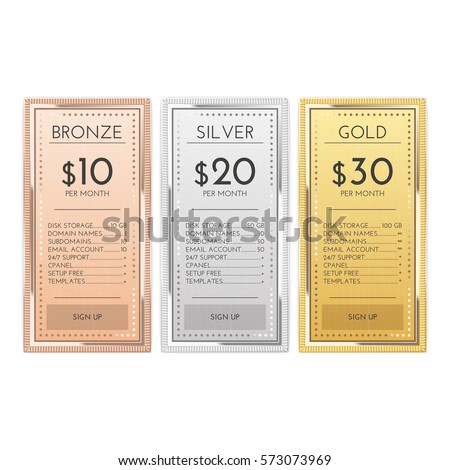 Table chart comparison in gold, silver and bronze templates for commercial business. web services and applications. Pricing plan template interface for website, banners, hosting, ui, ux, mobile app.