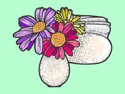 Table decoration, vase of flowers and napkin holder. Sketch scratch board imitation color.