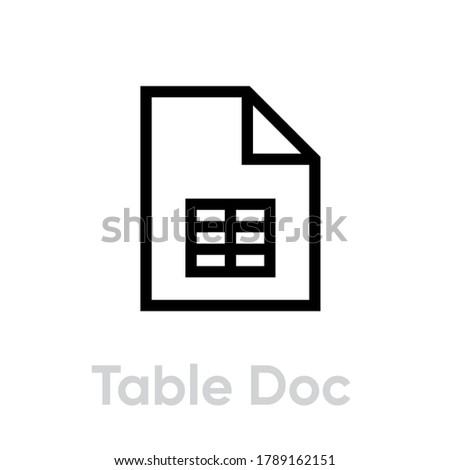 Table doc icon in flat style. Editable vector outline. Single pictogram. Linear black symbol document with spreadsheet isolated on white backdrop. File with table page outline sign.