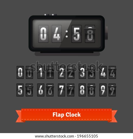 Table flap clock and number counter template plus all numbers with flips Highly editable EPS10