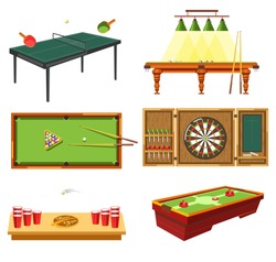 Table games set, sport equipment. Billiard or pool, cue stick, table tennis, darts game with throwers, dartboard. Beer pong, red plastic cups and air hockey kit of strikers, puck. Vector illustration.