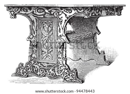 Table (Gothic style) / vintage illustrations from Meyers Konversations-Lexikon 1897