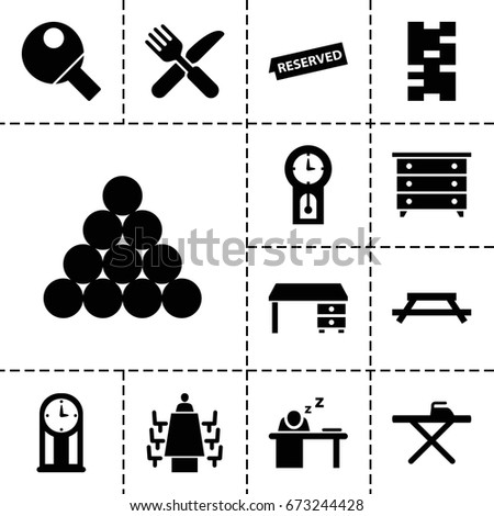 table icon set of 13 filled