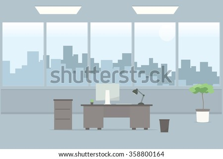 Table in empty office room