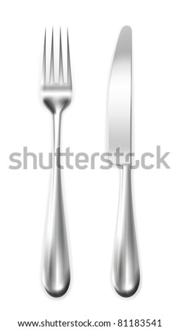 Table knife and  fork, vector