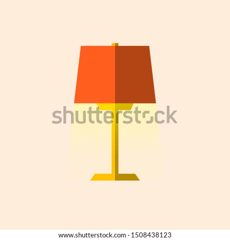 Table lamp flat style. Vector illustration.