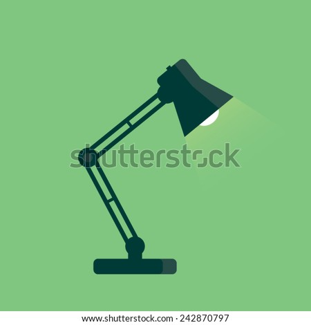 Table lamp icon, flat design style. Desk lamp modern vector illustration