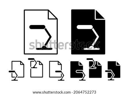 Table lamp vector icon in file set illustration for ui and ux, website or mobile application