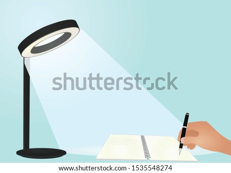 Table lamps illuminate notebook. vector