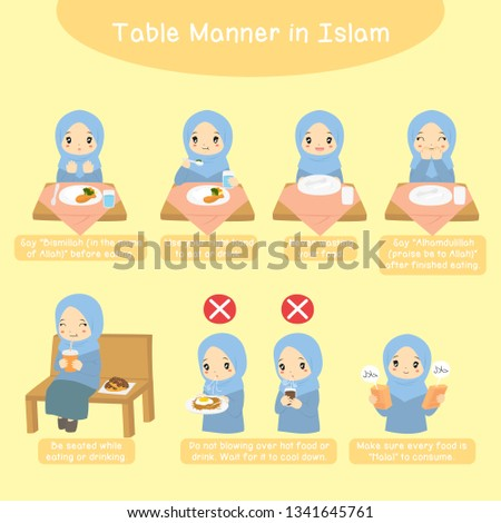 Table manner in Islam, for kids. Muslim girl performing Islamic table manner steps. Teaching children the Islamic manners of eating and drinking