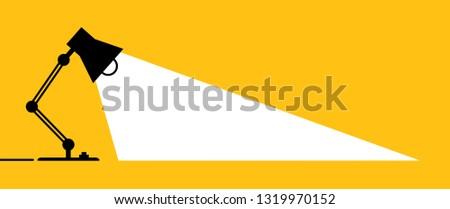 Table, office desktop lamp. Comic brain electric lamp idea doodle. FAQ, business loading concept. Fun vector light bulb icon or sign ideas. Brilliant lightbulb education  or invention pictogram banner