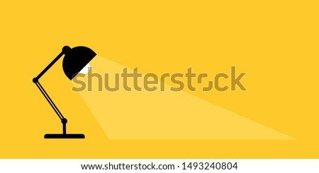 Table office desktop lamp. Place for your text. Lamps light lights. Flat vector illustration.