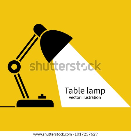 Table office lamp. Desktop electric. Vector illustration flat design. Isolated on white background. Silhouette lamp. Electrical bulb.