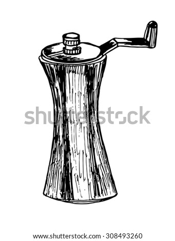 table pepper mill sketch vector