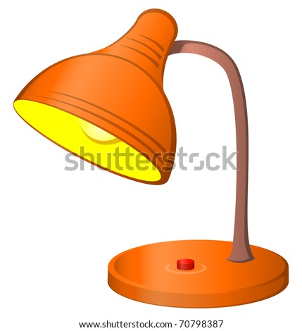 Table retro electric lamp with a shone bulb, vector