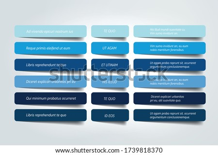 Table, schedule design template with 6 row. Vector banner.