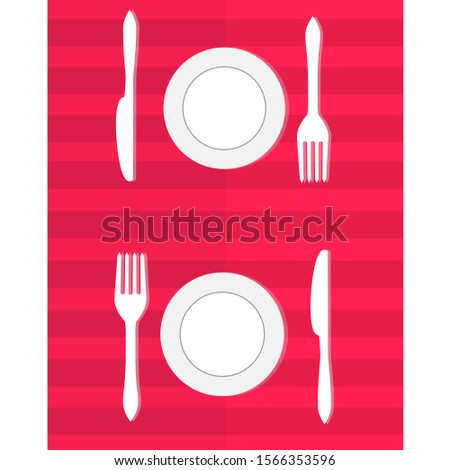 Table setting for dinner. A romantic dinner for two. Vector. Flat.