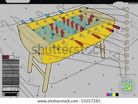 Table soccer design template on grey background.