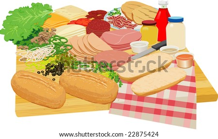 Table spread with various and sundry sandwich slices and condiments, replete with chopping block table top.