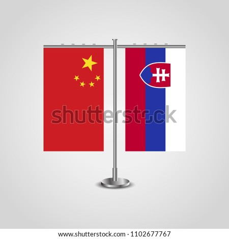 table stand with flags of china
