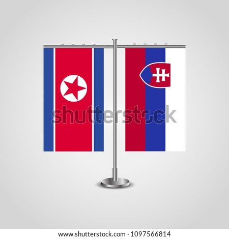table stand with flags of north