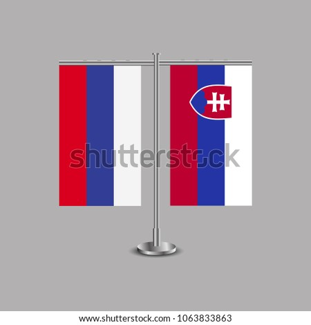 table stand with flags of