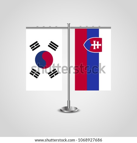 table stand with flags of south