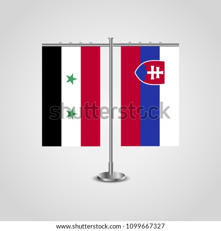 table stand with flags of syria