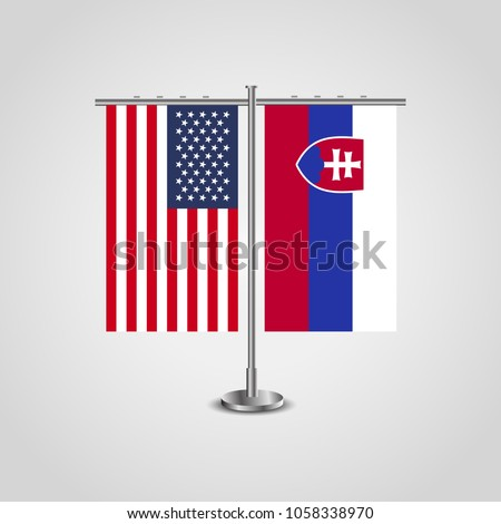 table stand with flags of usa