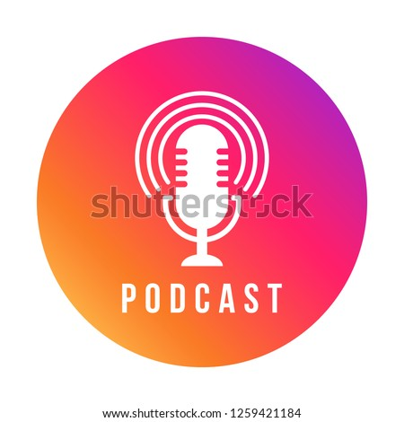 Table studio microphone icon. Broadcast sign. Podcast emblem design. Vector Radio mic illustration