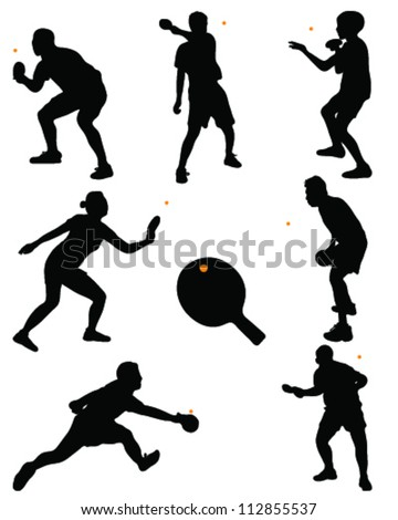 Table tennis player silhouette-vector