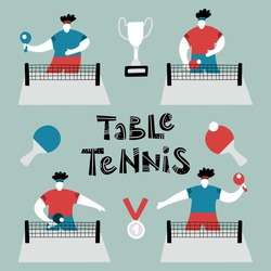 Table tennis set, ping pong player, athlete character playing sport games - Table tennis lettering, elements of rackets, ball, trophy cup and medal - Cartoon flat vector Illustration isolated