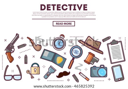 Table top view with private detective tools , icons set, vector illustration. Revolver, bullets, gun, police badge, mobile phone, tobacco pipe, magnifying glass, Investigation Concept