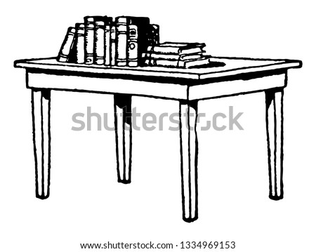 Table with Books on top, furniture, la mesa, libros, table, vintage line drawing or engraving illustration.