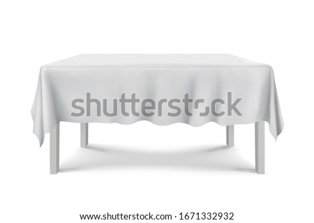 Table with White Tablecloth.Empty Rectangular clean table Isolated on White Background.furniture for interior, vector illustration Stock photo ©