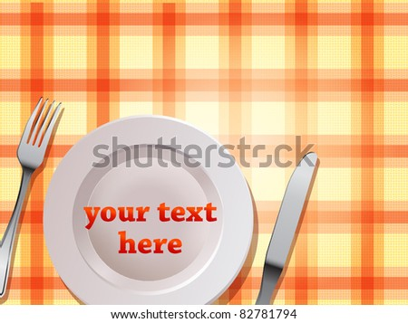 Tablecloth background with plate fork and knife vector illustration - stock vector