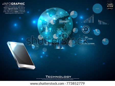 Free flat digital marketing vector background with touch screen tablet and background technology modern design idea and concept vector illustration infographic template with earth voltagebd Choice Image