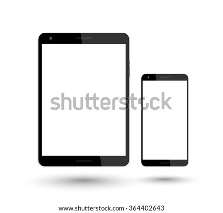 tablet and smartphone vector mockup over white, vector illustration