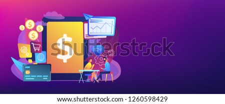 Tablet, bank card and manager using banking software for transactions. Core banking IT system, banking software, IT service concept. Header or footer banner template with copy space.