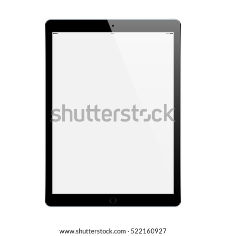 tablet black color with blank touch screen and flare isolated on white background. realistic and detailed device mockup. stock vector illustration ストックフォト ©